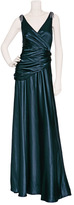 Collette Dinnigan Teal Silk Satin Gown with Crystal Embellishment