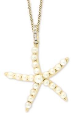 """Effy Cultured Freshwater Pearl (2 & 3mm) & Diamond Accent Starfish 18"""" Pendant Necklace in 14k Gold"""