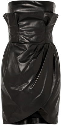 Versace Strapless Leather Mini Dress