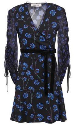 Diane von Furstenberg Velvet-trimmed Printed Crepe And Georgette Mini Dress