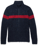 Brunello Cucinelli - Striped Cable-knit Donegal Wool And Cashmere-blend Zip-up Cardigan