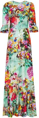 Mary Katrantzou Millais Gathered Devore-velvet Mini Maxi Dress