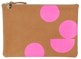 Clare Vivier Margot Flat Clutch With Neon Pink Circles