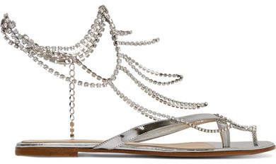 Gianvito Rossi Tennis Crystal-embellished Mirrored-leather Sandals - Silver