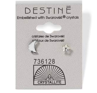 Crystallite Destine Moon & Stars Clear Earrings