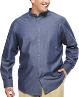 Claiborne Long-Sleeve Banded-Collar Chambray Shirt