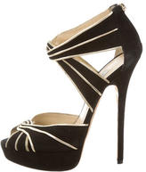 Jimmy Choo Metallic-Trimmed Platform Sandals