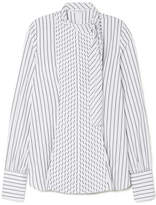 J.W.Anderson Tie-neck Pleated Striped Cotton-poplin Shirt