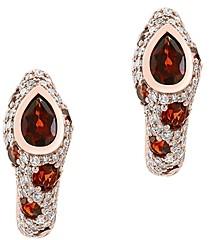 Bloomingdale's Garnet & Diamond Oval Hoop Earrings in 14K Rose Gold - 100% Exclusive