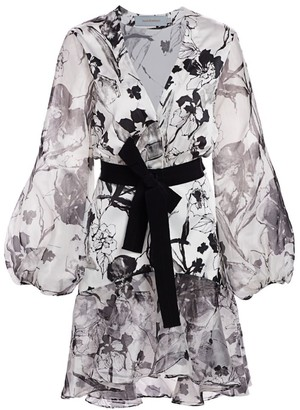 Silvia Tcherassi Galena Stretch-Silk Floral Ruffle-Hem Dress