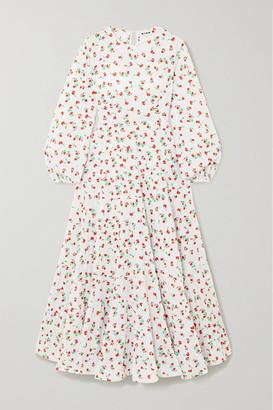 Rixo Pip Tiered Floral-print Fil Coupe Cotton Maxi Dress - White