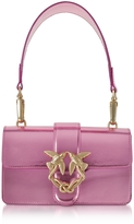 Pinko Mini Love Stars Azalea Pink Laminated Leather Shoulder Bag