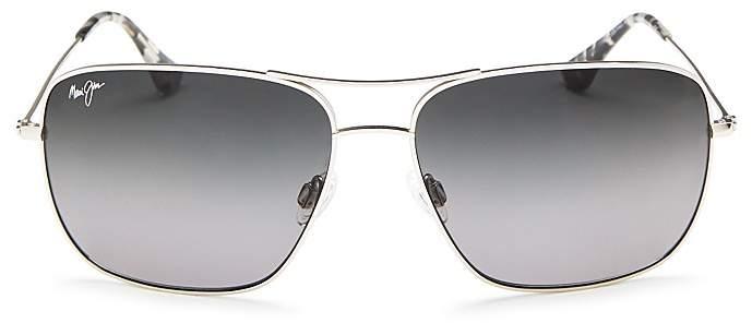 Maui Jim Cook Pines Brow Bar Aviator Sunglasses, 62mm