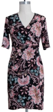 Connected Petite Floral-Print Surplice Dress