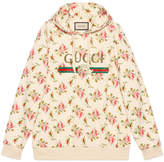Gucci Rose print hooded cotton sweatshirt