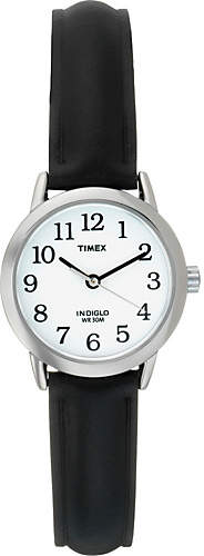 Timex Ladies' White Dial Black Leather Strap Watch