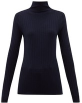 The Row High-neck Ribbed-knit Wool-blend Sweater - Womens - Navy