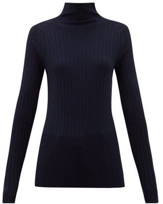 The Row High-neck Ribbed-knit Wool-blend Sweater - Navy