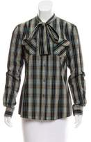 Dolce & Gabbana Plaid Button-Up Top w/ Tags