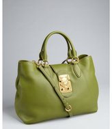 Miu Miu Miu green pebbled leather convertible satchel