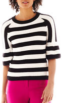 JCPenney Worthington Puff-Sleeve Striped Sweater