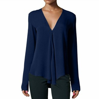 Lazzboy Womens Casual Deep V Neck Pure Colour Loose Long Sleeve Blouse Tops Shirt Pullover(S