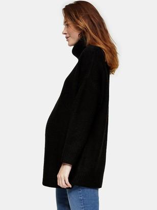 Topshop MaternityOversized Roll Jumper - Black