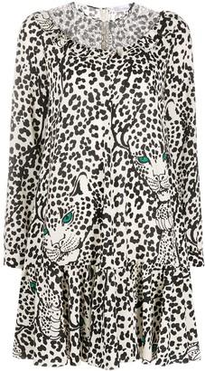 RED Valentino Leopard-Print Long-Sleeve Dress