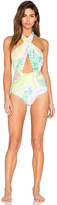 Mara Hoffman Cross Front Halter One Piece Swimsuit
