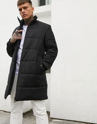 HUGO Magnus wool mix long line puffer with back logo in black