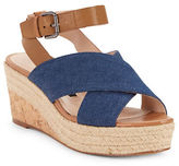 French Connection Liora Open-Toe Denim Wedges
