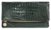 Clare Vivier Croc Embossed Leather Foldover Clutch - Green