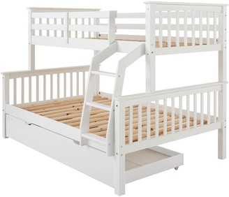 Novara Detachable Trio Bunk Bed in Pine, Grey or White with Optional Mattress