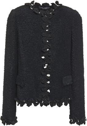 Dolce & Gabbana Ruffled Polka-dot Crepe And Boucle Jacket