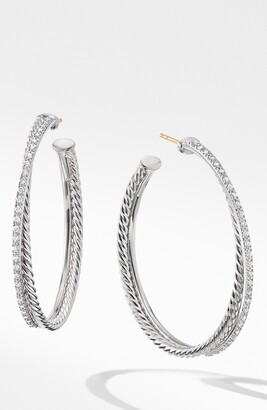 David Yurman Extra Large Crossover Hoop Earrings with Diamonds