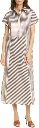 SEVENTY VENEZIA Seventy Striped Popover Midi Dress