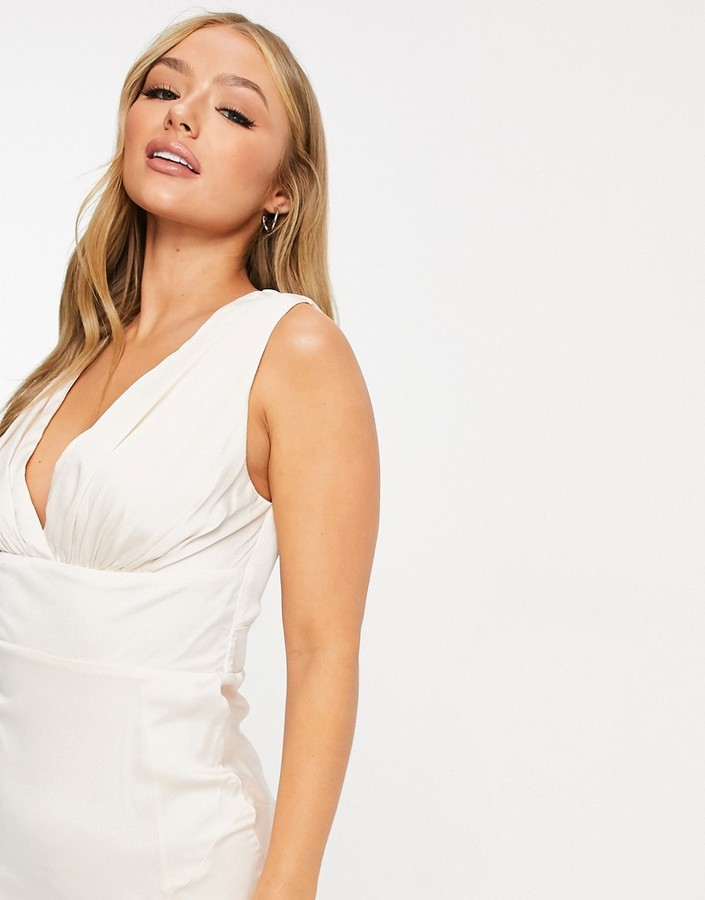 Thumbnail for your product : TFNC Bridal satin maxi dress with split in cream