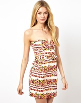 Pepe Jeans Floral Bandeau Dress With Belt