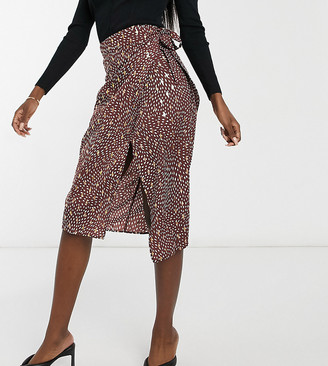 Outrageous Fortune Tall midi skirt with tie side in gold foil print