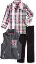 Nannette Little Boys' Knit Vest, Woven Shirt and Pants Set