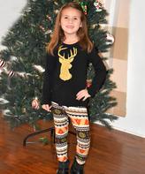 Beary Basics Black Deer Tee & Patterned Leggings - Toddler & Girls