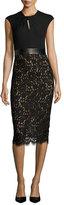 Michael Kors Lace & Jersey Cocktail Sheath Dress, Black