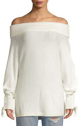 Saks Fifth Avenue Lace Sleeve Convertible Sweater