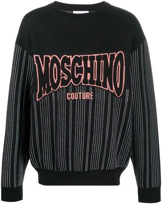Moschino Logo-Patch Pinstripe Jumper