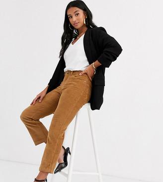 Vero Moda Petite cord straight leg trousers in tan
