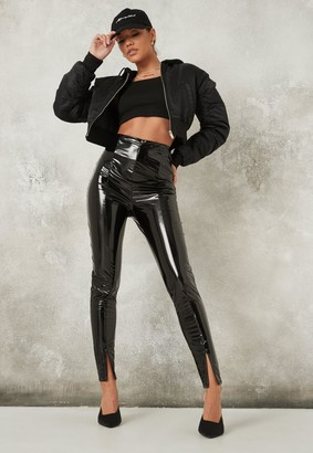 Missguided Black Split Front Vinyl Leggings
