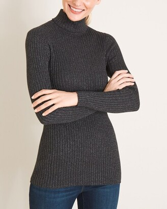 Chico's Lurex Ribbed Coolmax Turtleneck Sweater