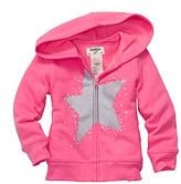 Osh Kosh OshKosh BGosh Girls' 2T-6X Pink Star Embellished Fleece Hoodie