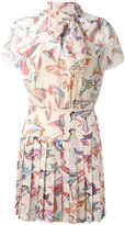 RED Valentino birds print pleated dress