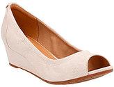 Clarks Vendra Daisy Nubuck Slip-On Peep Toe Wedge Pumps
